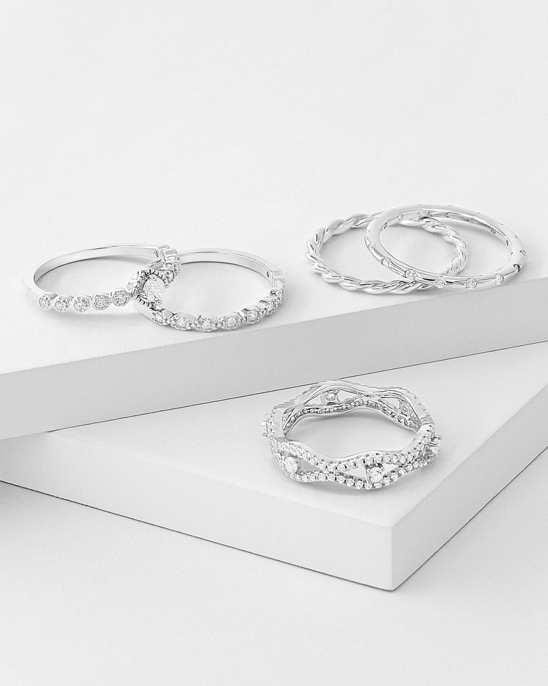 Natalia Stackable Ring Set Silver