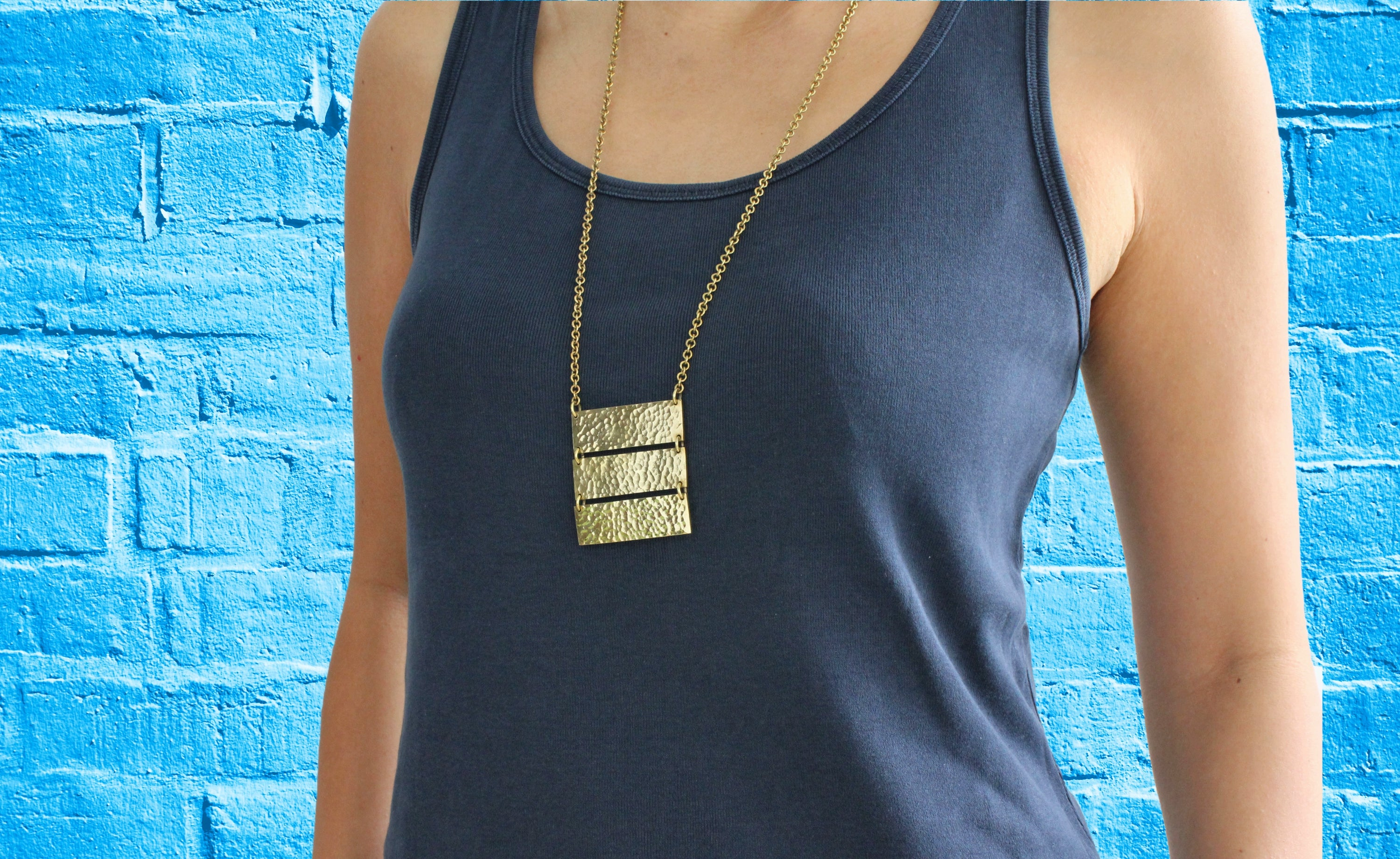 African handmade necklace three bars body blue brick