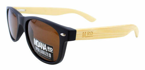 Kids Wooden Sunglasses - Black w Brown Lens