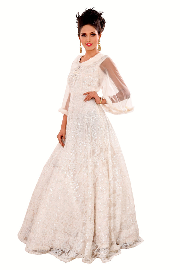 White Evening Gown Featured in Net