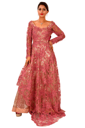 Beautiful Reddish Pink Evening Style Gown