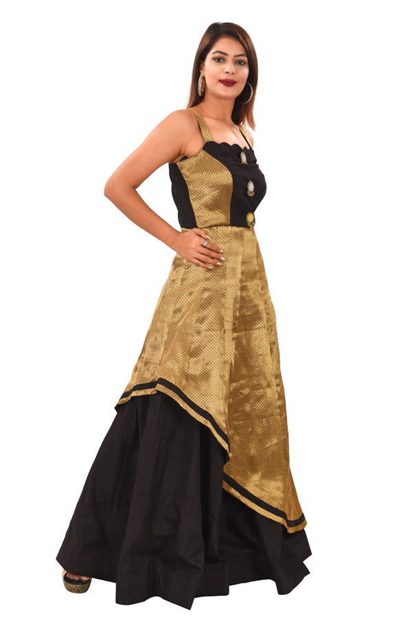 Black and Gold Evening Style Gown