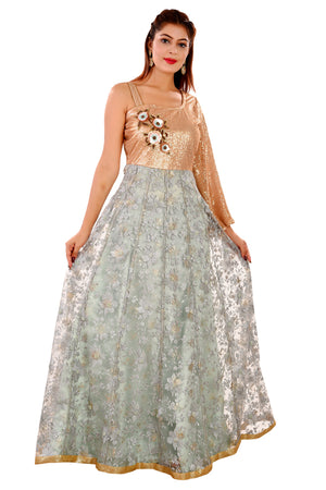 Golden and Pista Green Indo Western Style Gown Featured in Net and Georgette