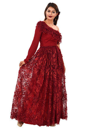 Wine Evening Style Gown