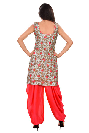 Designer Salwar Kameez Featured in Sky Blue and Dark Pink Cotton and Chiffon