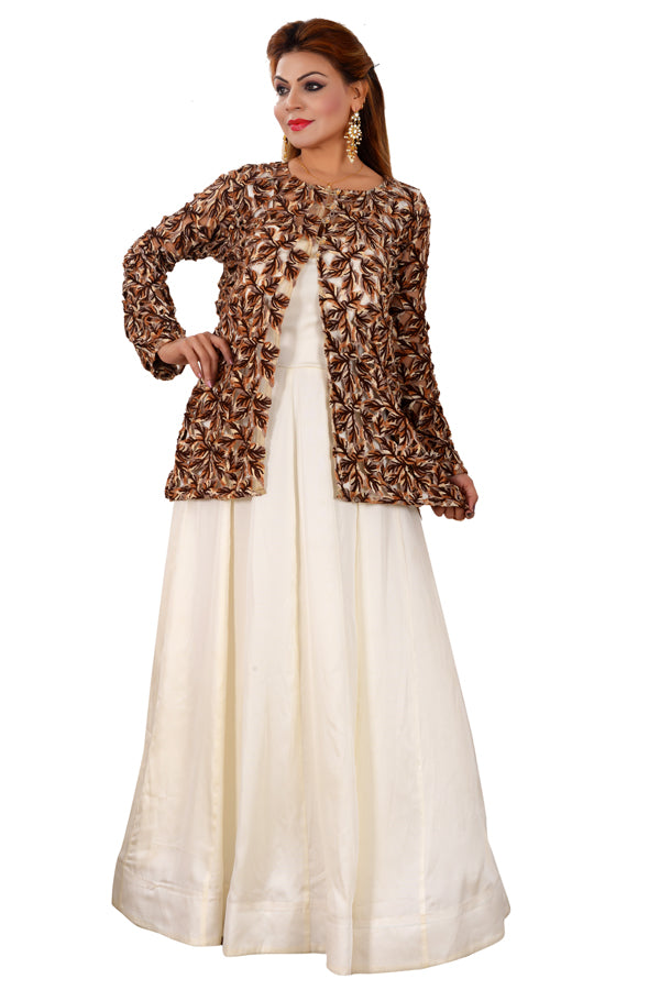 Cream and Brown Indo Western Style Gown Featured in Silk, Cotton and Crepe