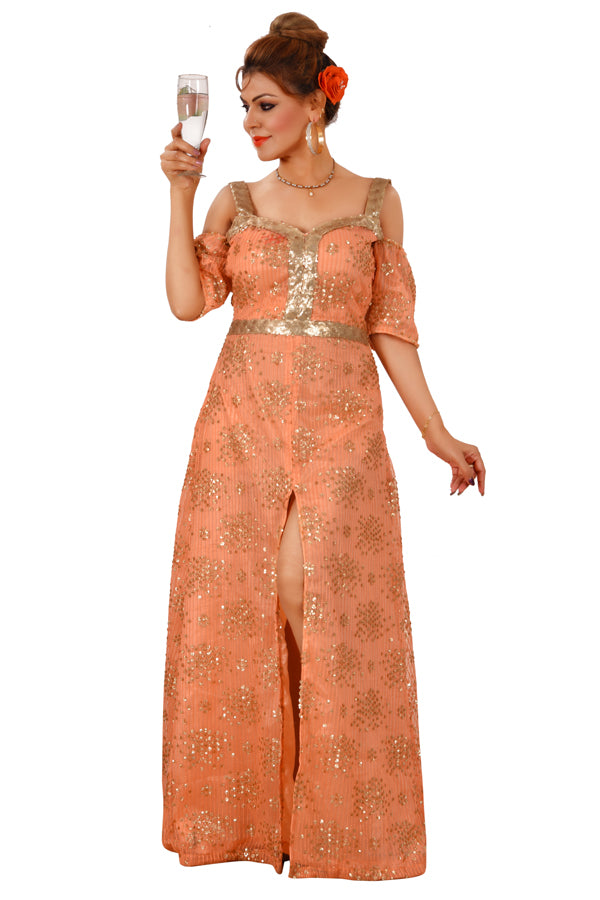 Golden and Peach Evening Style Gown Featured in Net