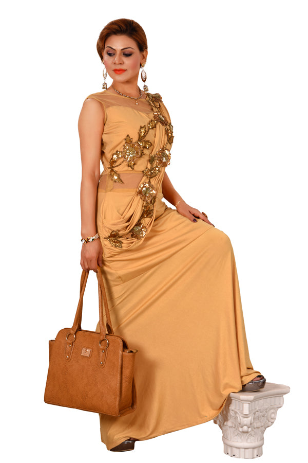 Peach Drape Style Gown Featured in Net and Lycra