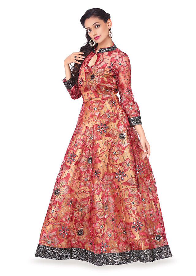 Black and golden wine coloured gown featured in georgette and net