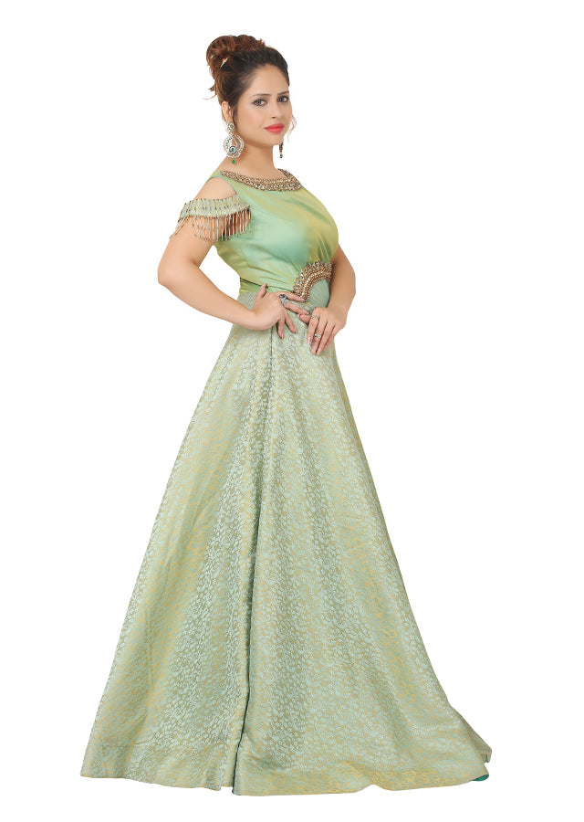Pista green gown featured in raw silk