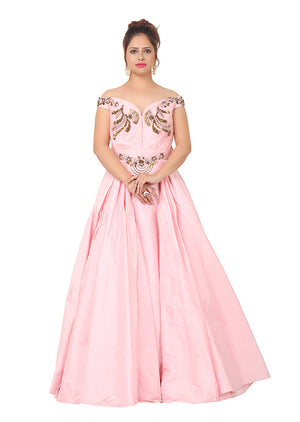 Baby pink evening gown featured in silk