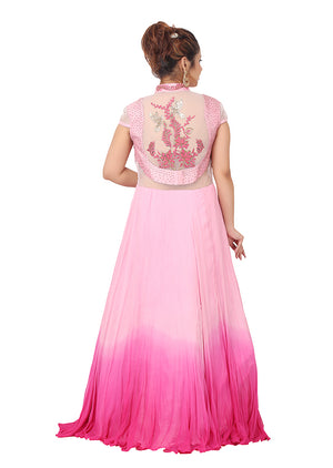Evening style gown featured in different shades of pink chiffon