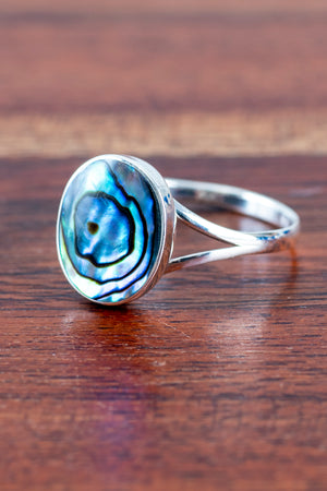 Simple Abalone Sterling Ring - Mexicali Blues