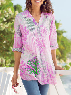 Sweet Printed/dyed Half Sleeve Cotton-Blend Shirts & Tops