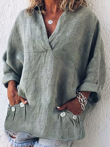 Women V Neck Thin Summer Linen Plus Size Casual Loose Tops