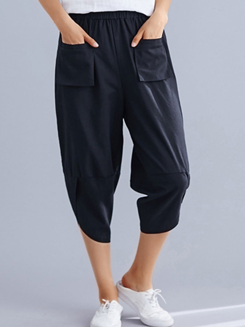 Plus Size Women Plain Casual Pants