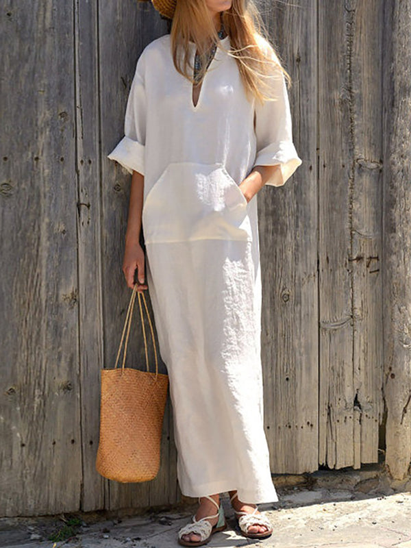 Statement Solid Casual Dress
