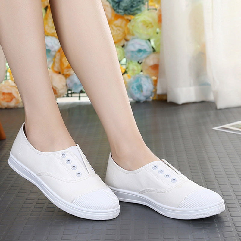 Women Canvas Sneakers Casual Comfort Slip On Shoes