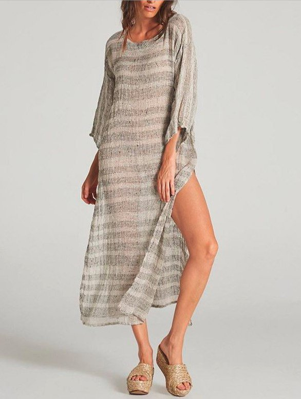Half Sleeve Crew Neck Stripes Shift Dresses