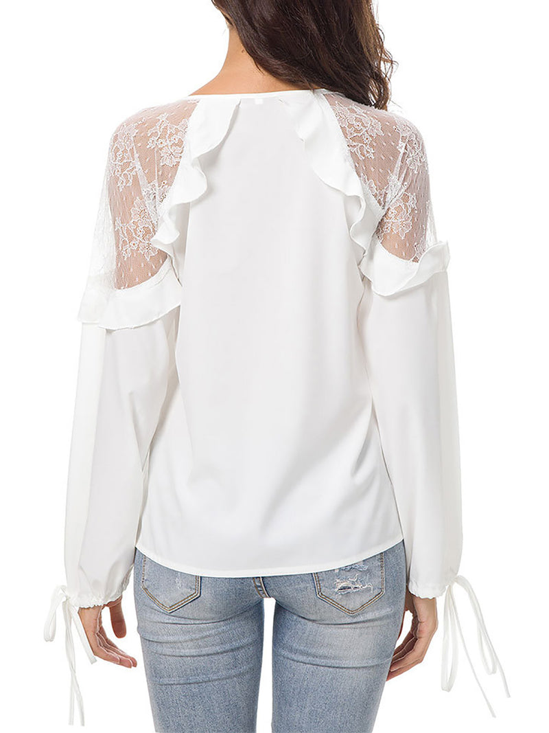 Deep V-Neck Lace Casual Solid Paneled Elegant Blouse