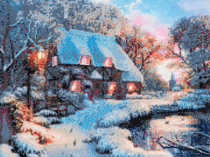 "CAK-A30: ""Winter Cottage"" Framed Crystal Art Kit, 40 x 50cm"