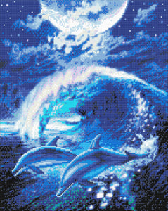 "CAK-AC2: ""Moonlight Tryst Dolphins"" - 40 x 50cm - Finished Sample"
