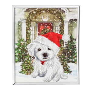 "CAM-21: ""Festive Pup"" Crystal Art Picture Frame Kit, 21 x 25cm - PRE-ORDER"