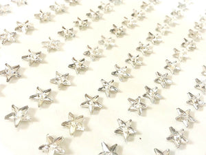 120 x 6mm Clear Stars Self Adhesive Gems