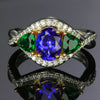 14K White & Rose Gold Tanzanite & Tsvorite Ring 1.65 Carats