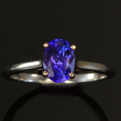 Tanzanite Ring in 14kt White and Rose Gold 1.34 Carats