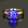 14K White & Rose Gold Round Brilliant Cut Tanzanite & Diamond Ring 3.92 Carats