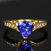 18K Yellow Gold Trillant Tanzanite Ring with Diamonds by Christopher Michael  1.50 Carats