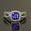 14K White Gold Square Cushion Tanzanite Ring with Diamonds by Christopher Micahel  1.69 Carats