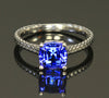 14K White Gold Square Cushion Tanzanite Ring