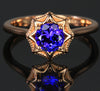 14K Rose Gold Round Brilliant Tanzanite Ring 1.15 Carats