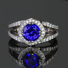 14k White Gold Round Brilliant Tanzanite with Diamond Halo and Shank 3.35 Carats