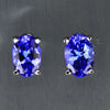 1.12 ct Oval Tanzanite Stud Earrings