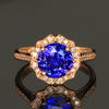 14K Rose Gold Round Brilliant Tanzanite and Diamonds Ring by Christopher Michael  3.44 Carats