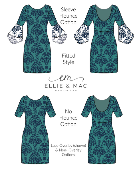 Anticipation Bodycon Dress Style Sewing Pattern by Ellie and Mac Sewing Patterns