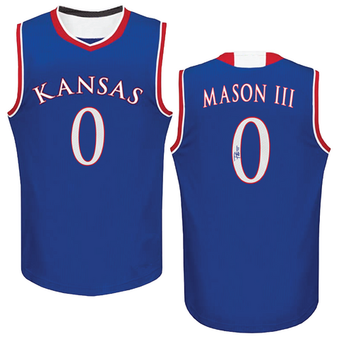 FRANK MASON III AUTOGRAPHED BLUE COLLEGE JERSEY