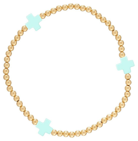 eNewton Signature Cross Bracelet Gold/Mint