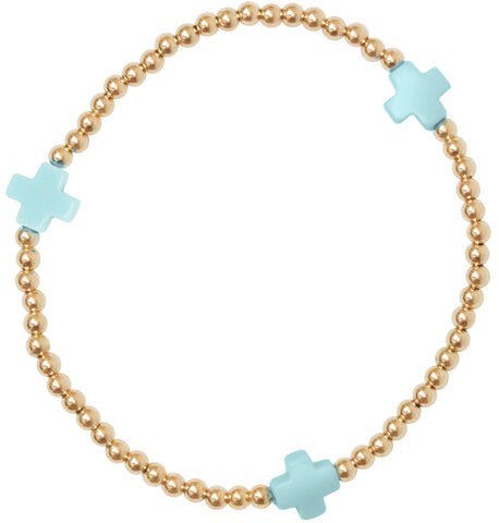 eNewton Signature Cross Bracelet Gold/Turquoise