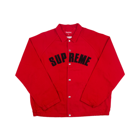 Supreme Red Snap Front Twill Jacket