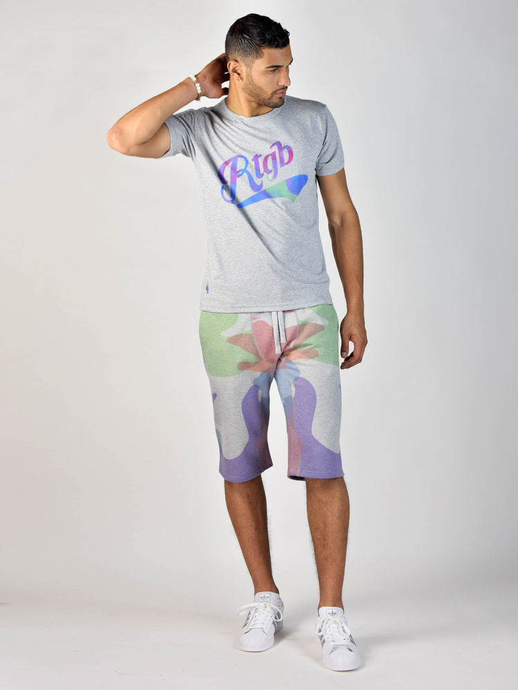 Watercolor Print T-Shirt (Heather Grey)