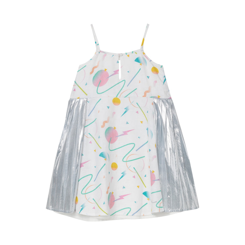 Danielle Pleated Dress - Retro Futuristic Print