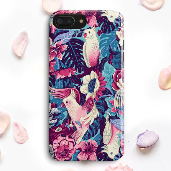 Flower And Parrot Illustration iPhone 7 Plus Case | Tridicase