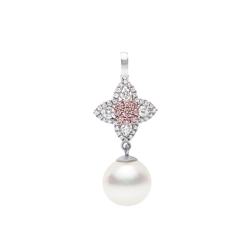 Pink Diamond and Pearl Drop Pendant Perth
