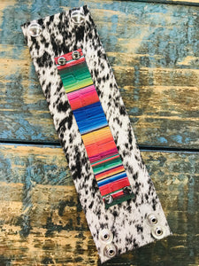 S&P Hair On Leather Cuff w/ Serape Accent Wide