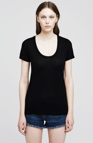 L'Agence Perfect Scoop Neck Tee in Black at Ron Herman