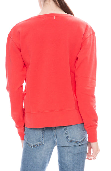 Alex Mill Womens Tomato Red Relaxed Fleece Pocket Sweatshirt